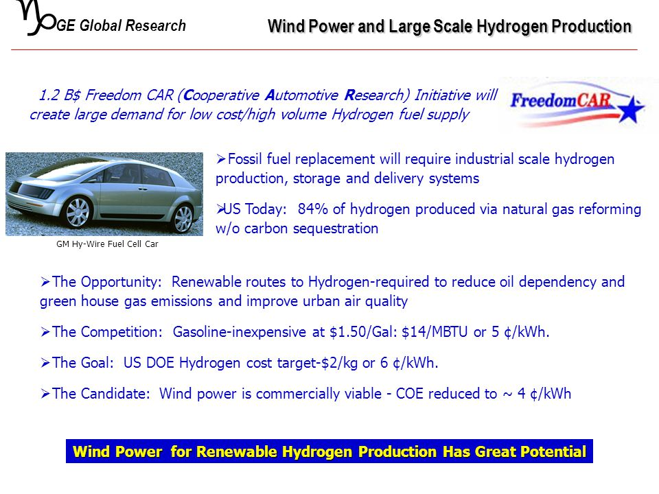 g Wind Power and Large Scale Hydrogen Production Wind Power for Renewable Hydrogen Production Has Great Potential  The Opportunity: Renewable routes