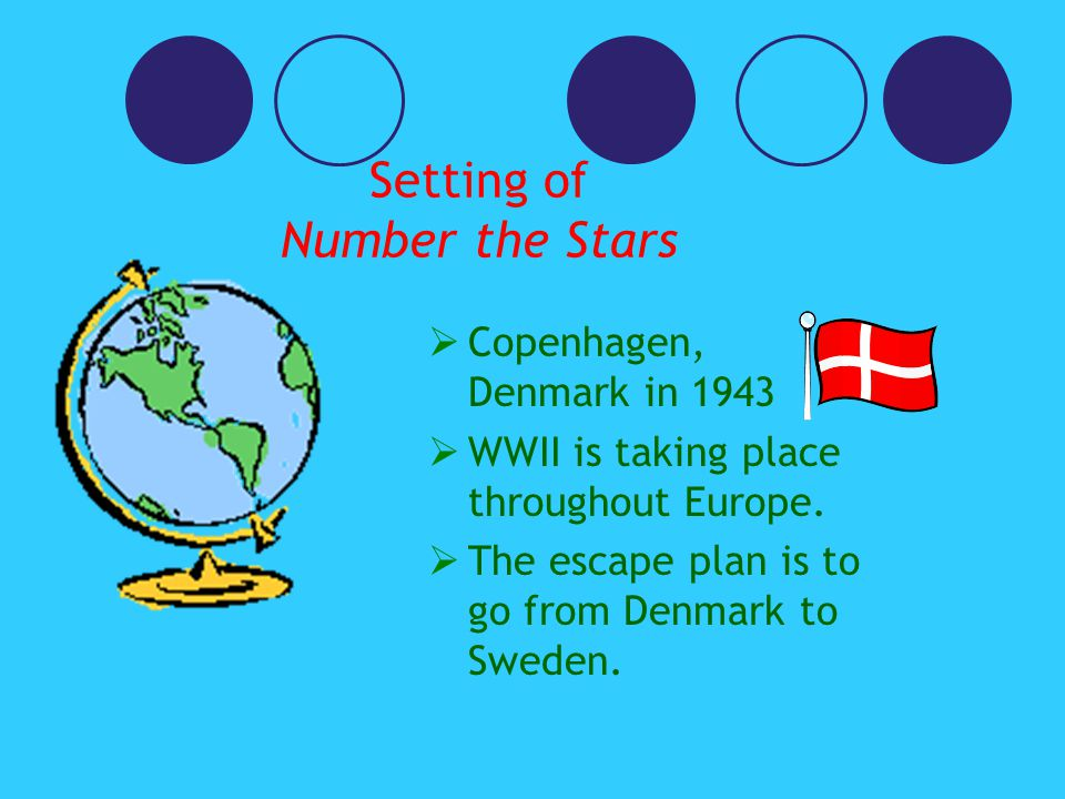 Setting of Number the Stars  Copenhagen, Denmark in 1943  WWII is taking place throughout Europe.