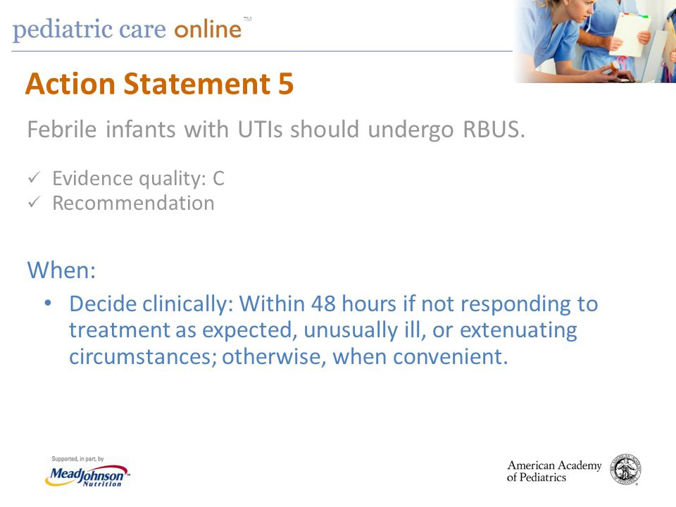 TM Action Statement 5 Febrile infants with UTIs should undergo RBUS.