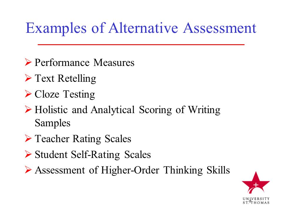 Examples of Alternative Assessment  Performance Measures  Text Retelling  Cloze Testing  Holistic and Analytical Scoring of Writing Samples  Teac