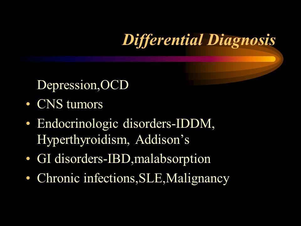 Differential Diagnosis Depression,OCD CNS tumors Endocrinologic disorders-IDDM, Hyperthyroidism, Addison's GI disorders-IBD,malabsorption Chronic infe