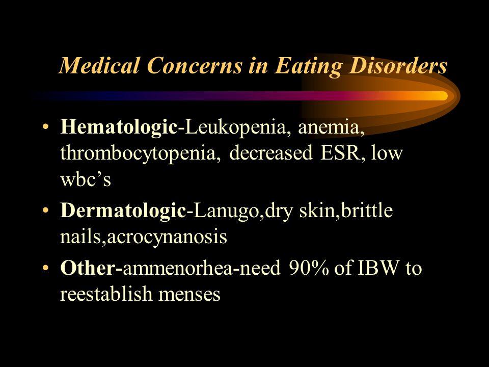 Medical Concerns in Eating Disorders Hematologic-Leukopenia, anemia, thrombocytopenia, decreased ESR, low wbc's Dermatologic-Lanugo,dry skin,brittle n