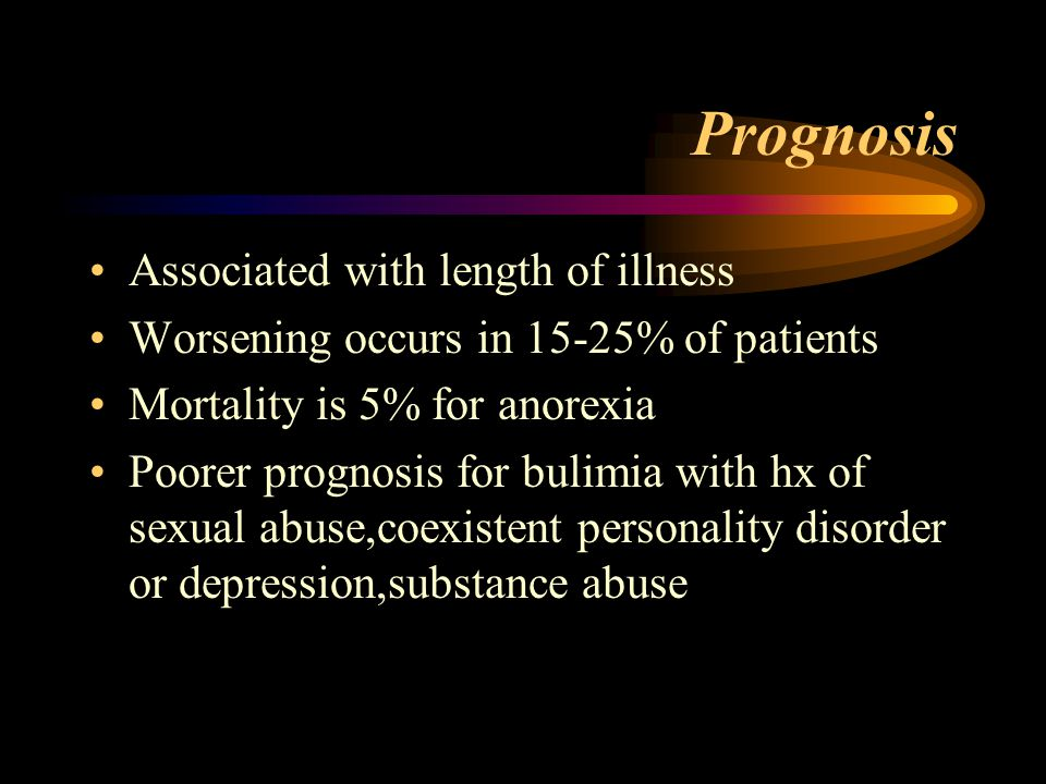 Prognosis Associated with length of illness Worsening occurs in 15-25% of patients Mortality is 5% for anorexia Poorer prognosis for bulimia with hx of sexual abuse,coexistent personality disorder or depression,substance abuse
