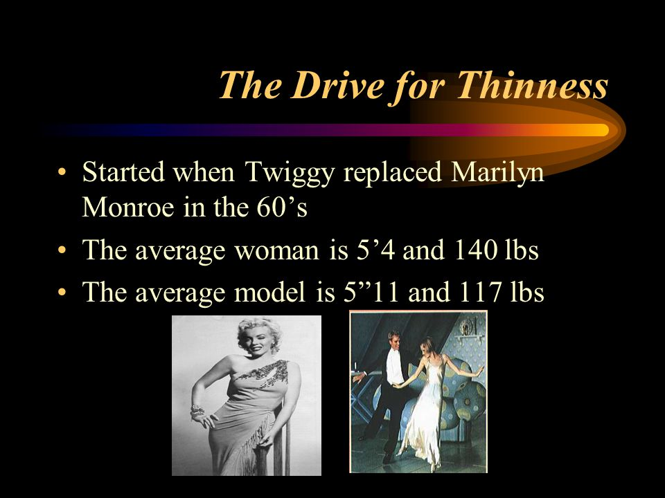 """The Drive for Thinness Started when Twiggy replaced Marilyn Monroe in the 60's The average woman is 5'4 and 140 lbs The average model is 5""""11 and 117"""