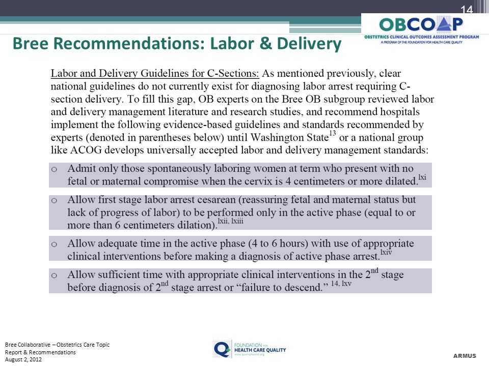 Bree Recommendations: Labor & Delivery ARMUS Bree Collaborative – Obstetrics Care Topic Report & Recommendations August 2, 2012 14