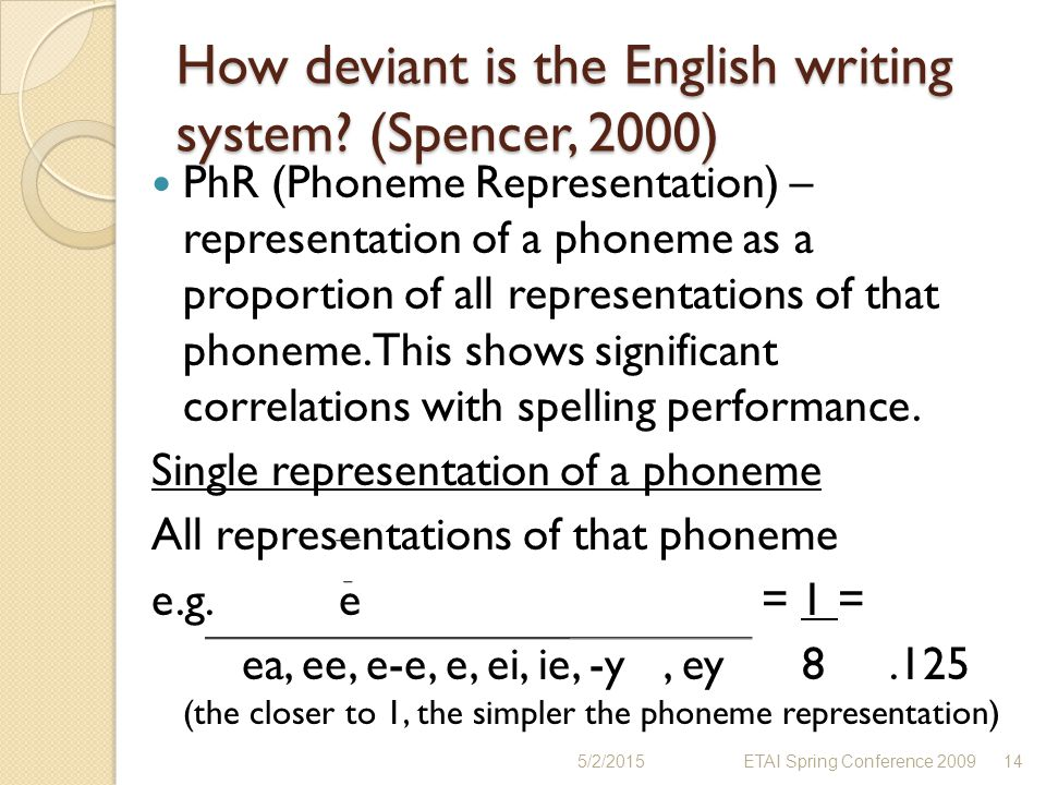How deviant is the English writing system? (Spencer, 2000) PhR (Phoneme Representation) – representation of a phoneme as a proportion of all represent