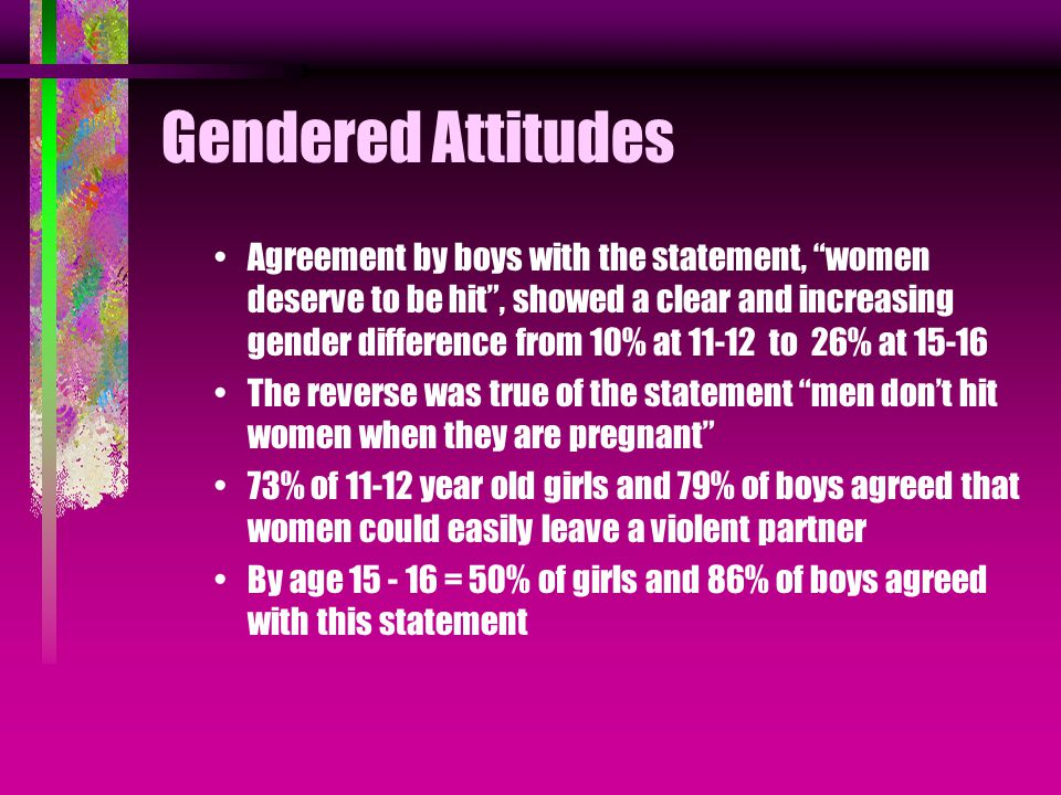 Gendered Attitudes Agreement by boys with the statement, women deserve to be hit , showed a clear and increasing gender difference from 10% at 11-12 to 26% at 15-16 The reverse was true of the statement men don't hit women when they are pregnant 73% of 11-12 year old girls and 79% of boys agreed that women could easily leave a violent partner By age 15 - 16 = 50% of girls and 86% of boys agreed with this statement