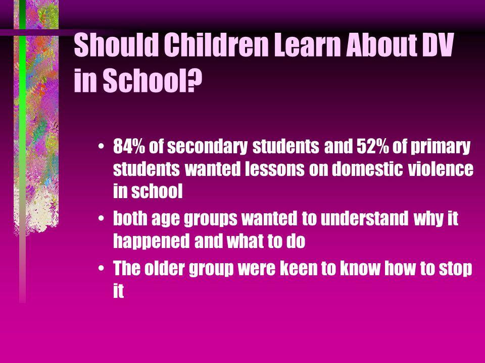 Should Children Learn About DV in School.
