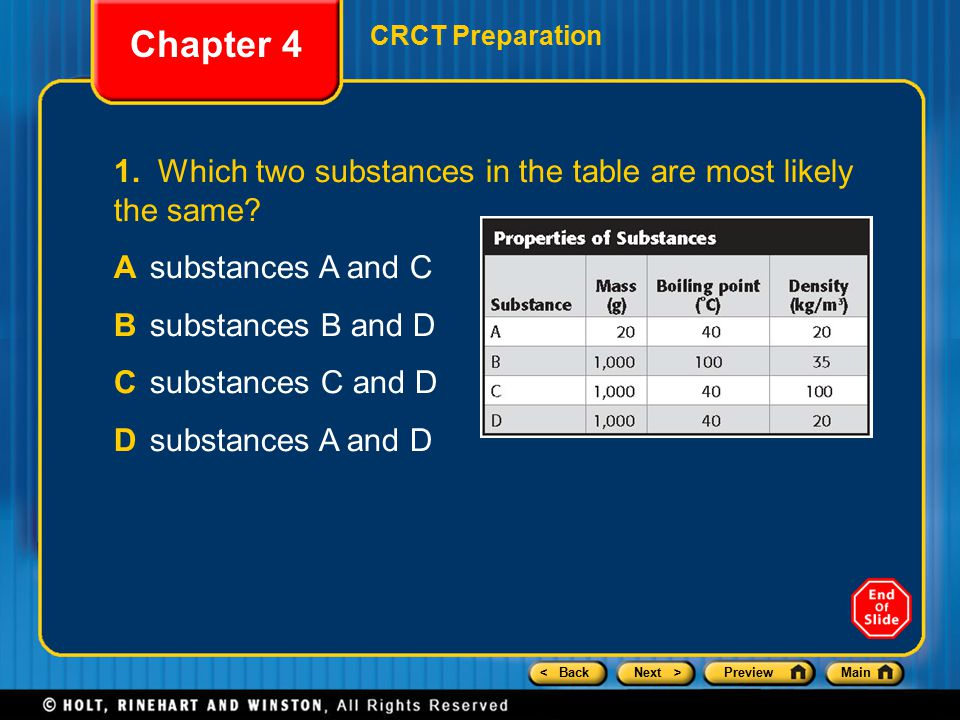 < BackNext >PreviewMain Chapter 4 CRCT Preparation 1. Which two substances in the table are most likely the same? Asubstances A and C Bsubstances B an
