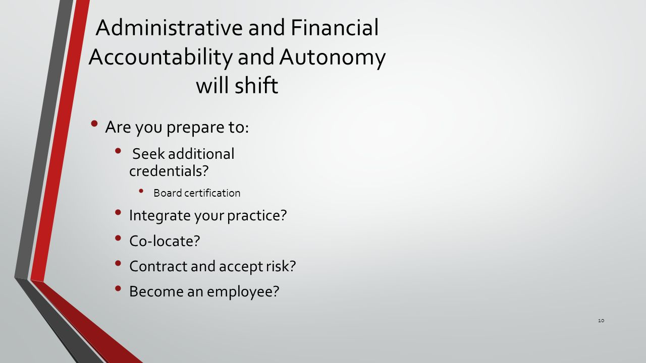 Administrative and Financial Accountability and Autonomy will shift Are you prepare to: Seek additional credentials.