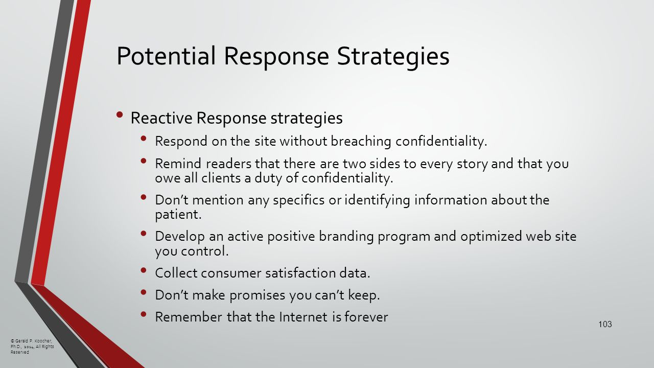Potential Response Strategies Reactive Response strategies Respond on the site without breaching confidentiality.