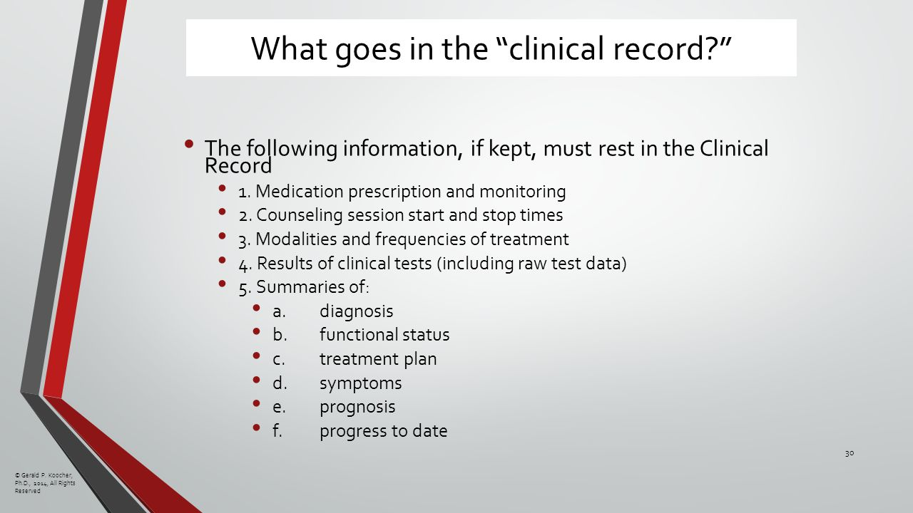 What goes in the clinical record The following information, if kept, must rest in the Clinical Record 1.