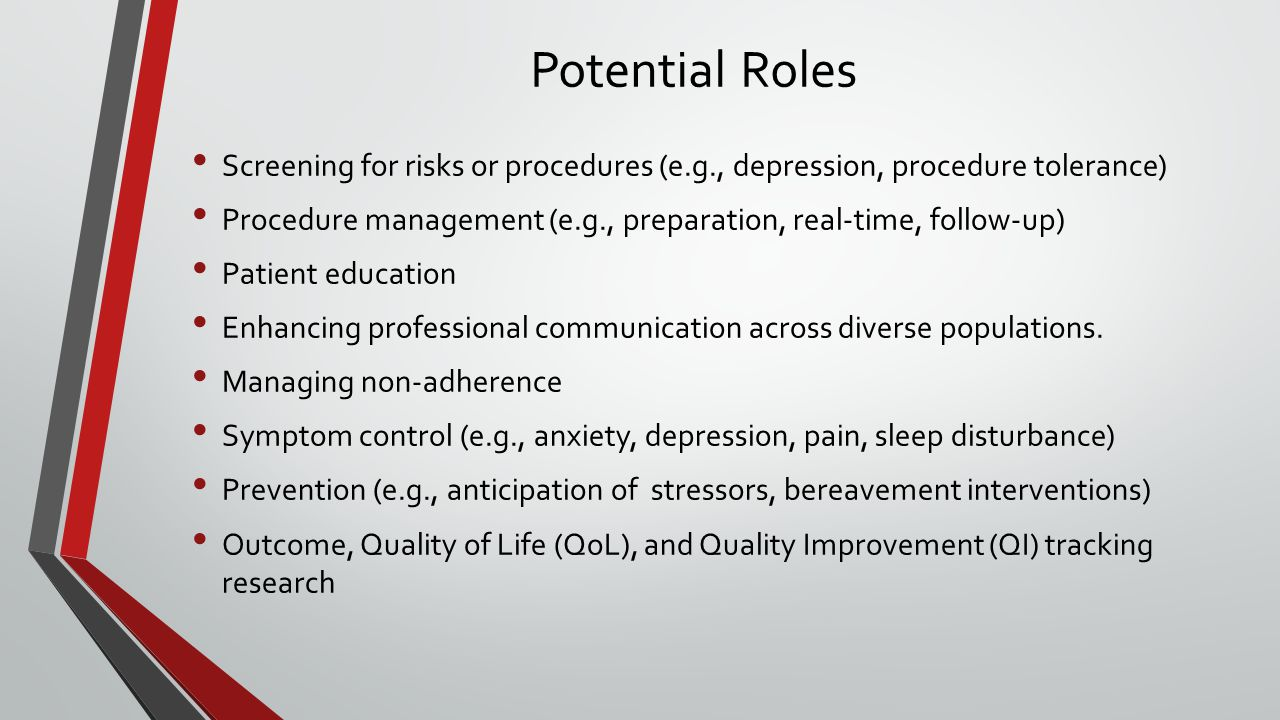 Potential Roles Screening for risks or procedures (e.g., depression, procedure tolerance) Procedure management (e.g., preparation, real-time, follow-up) Patient education Enhancing professional communication across diverse populations.