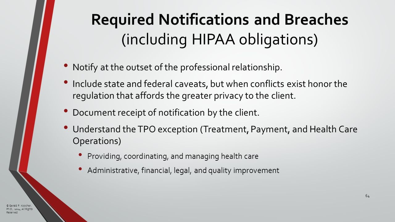 Required Notifications and Breaches (including HIPAA obligations) Notify at the outset of the professional relationship.