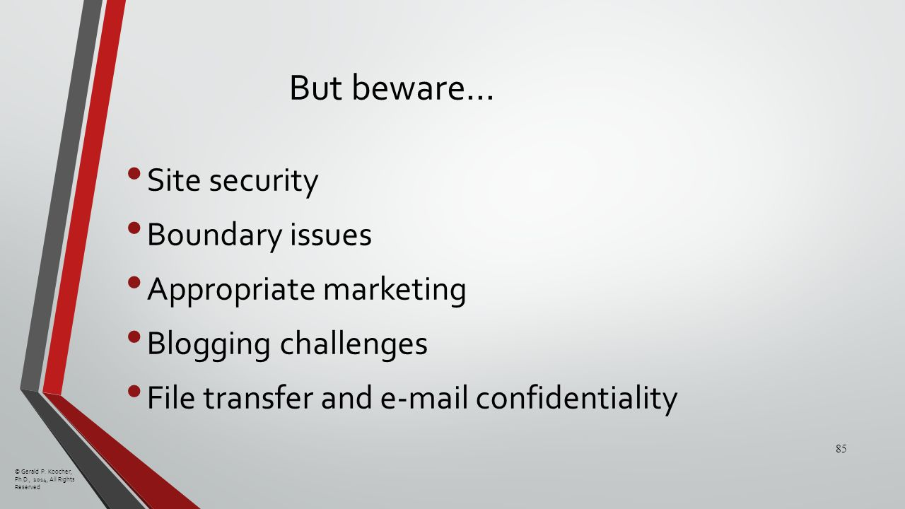 But beware… Site security Boundary issues Appropriate marketing Blogging challenges File transfer and e-mail confidentiality © Gerald P.