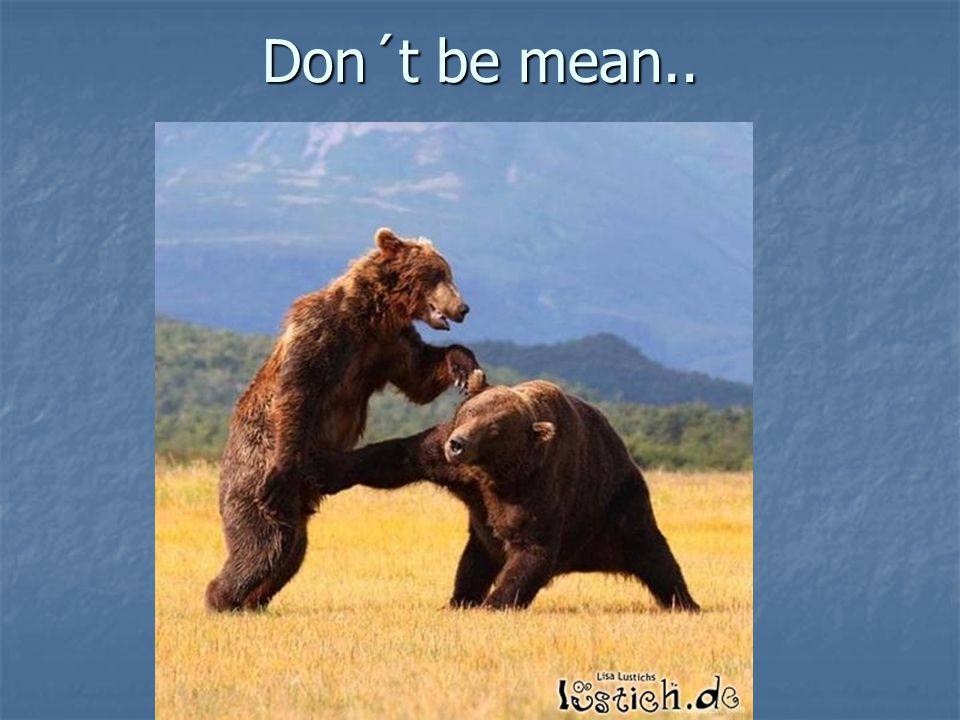 Don´t be mean..
