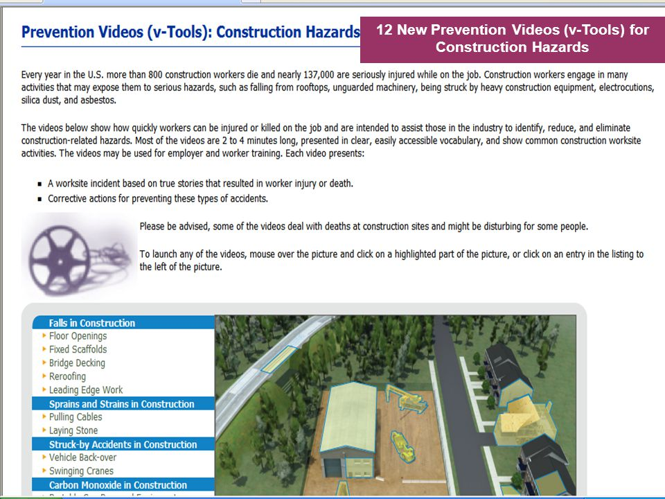 12 New Prevention Videos (v-Tools) for Construction Hazards