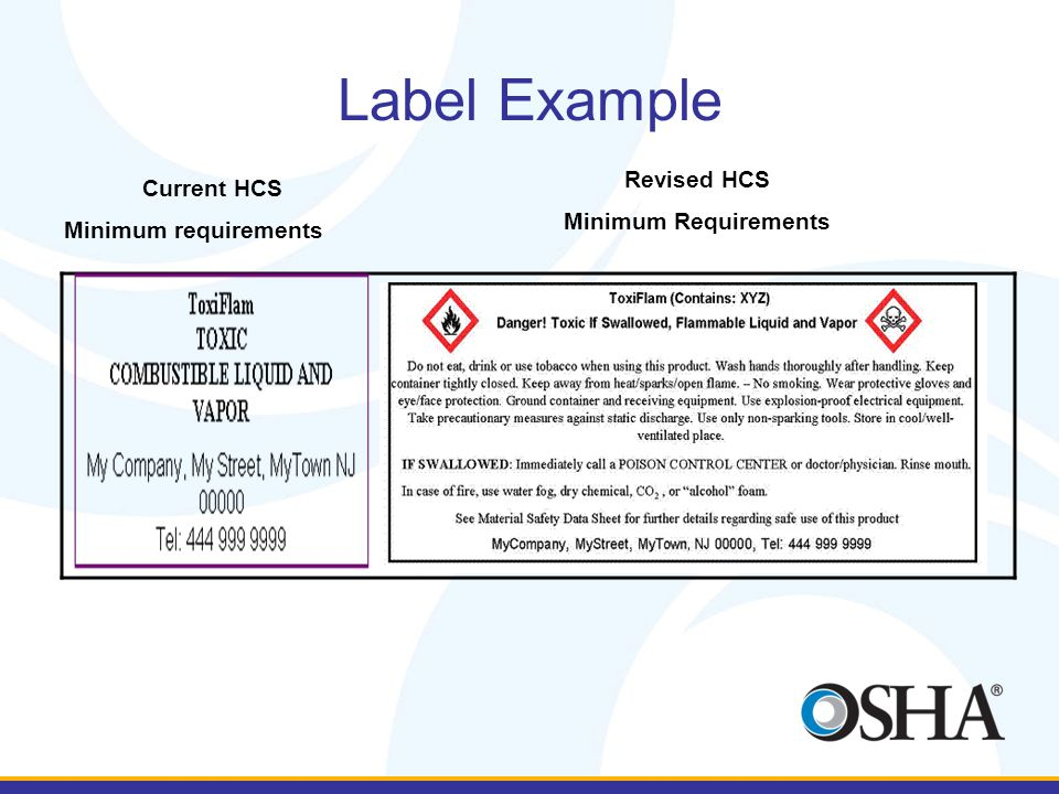 Label Example Current HCS Minimum requirements Revised HCS Minimum Requirements