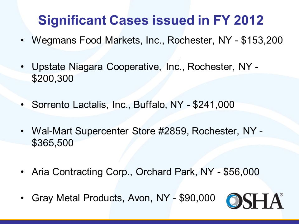 Significant Cases issued in FY 2012 Wegmans Food Markets, Inc., Rochester, NY - $153,200 Upstate Niagara Cooperative, Inc., Rochester, NY - $200,300 S