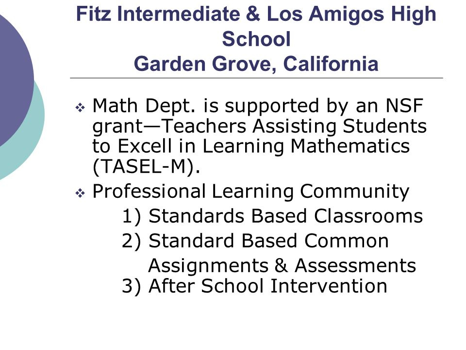 Fitz Intermediate & Los Amigos High School Garden Grove, California  Math Dept. is supported by an NSF grant—Teachers Assisting Students to Excell in