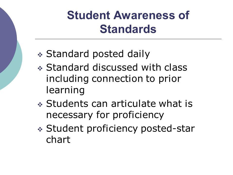 Student Awareness of Standards  Standard posted daily  Standard discussed with class including connection to prior learning  Students can articulat