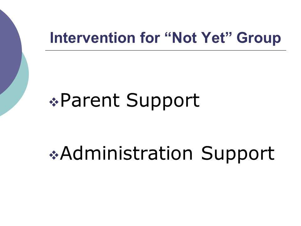 "Intervention for ""Not Yet"" Group  Parent Support  Administration Support"