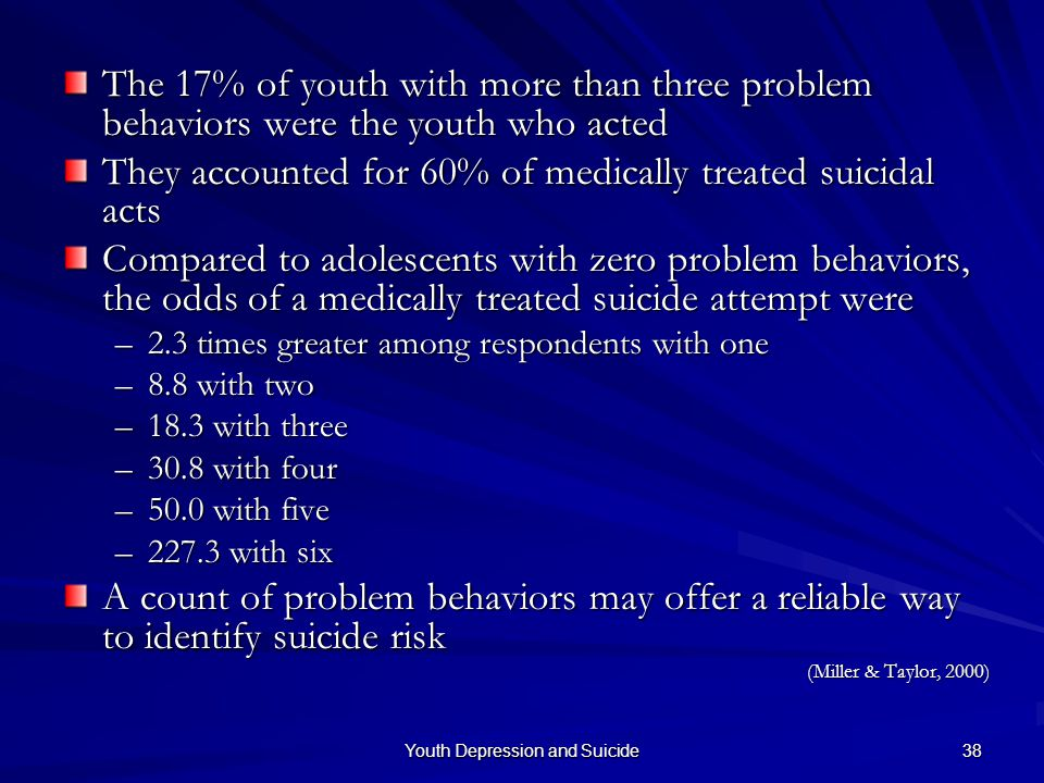 Youth Depression and Suicide 38 The 17% of youth with more than three problem behaviors were the youth who acted They accounted for 60% of medically t