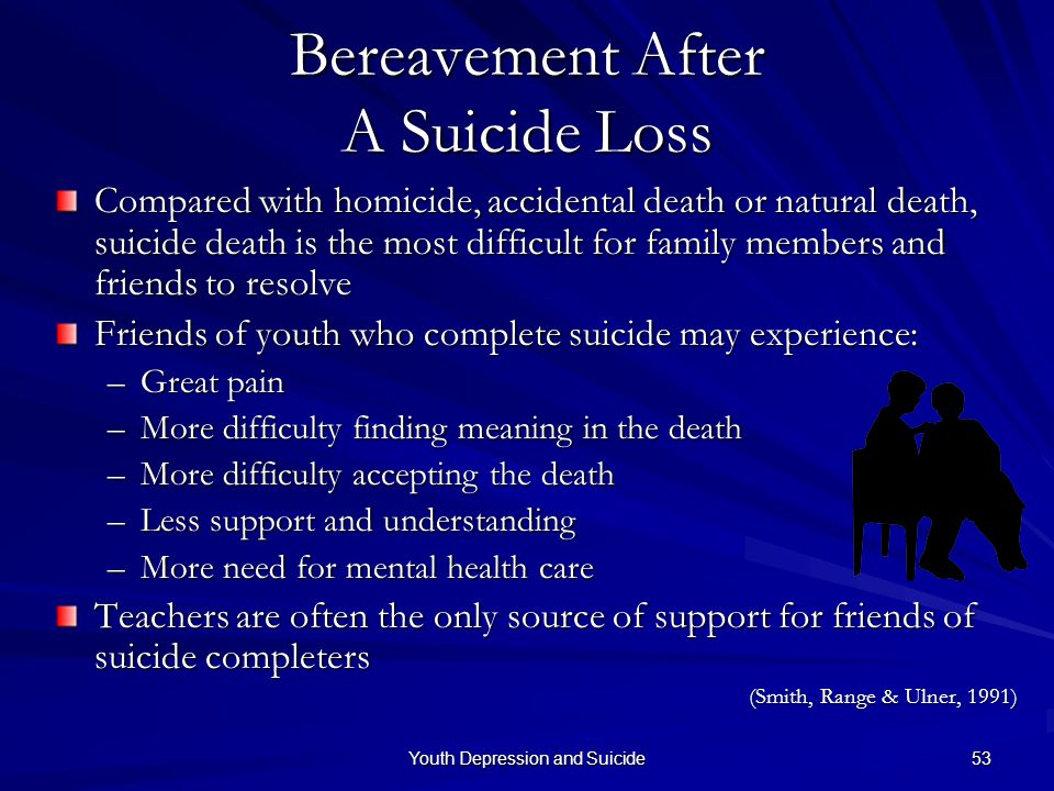 Youth Depression and Suicide 53 Bereavement After A Suicide Loss Compared with homicide, accidental death or natural death, suicide death is the most
