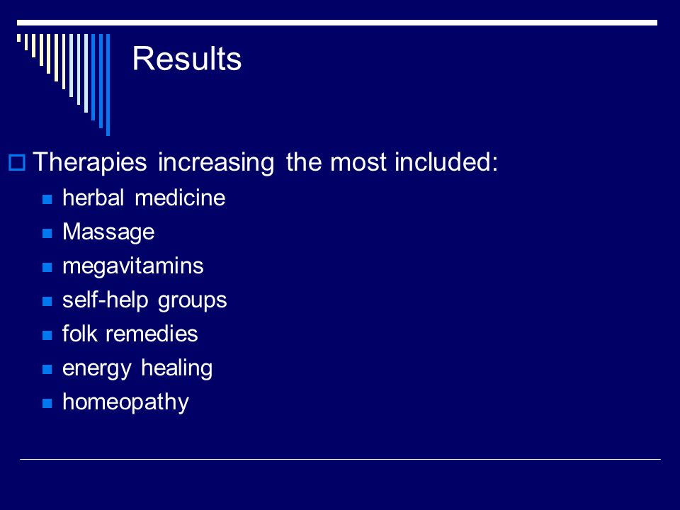 Results Alternative therapies used most frequently for:  Back problems  Anxiety  Depression  Headaches