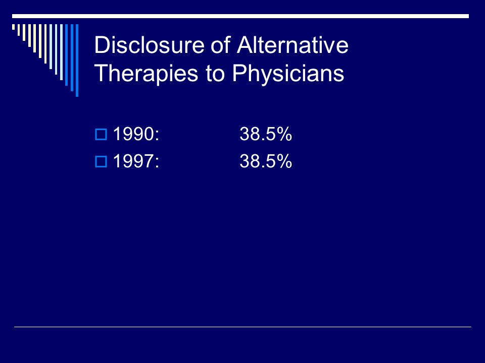 Percentage of Users Paying Entirely Out-of-Pocket for Alternative Therapies  1990:64%  1997:68.3%
