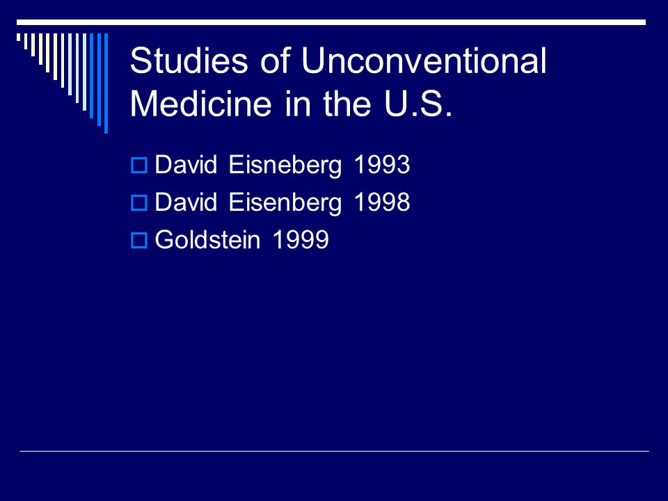 Objective  To document trends in alternative medicine use in the U.S. between 1990 and 1997.