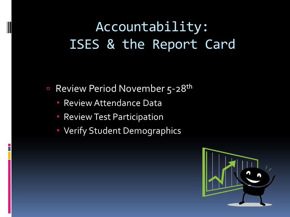 Accountability: ISES & the Report Card  Review Period November 5-28 th  Review Attendance Data  Review Test Participation  Verify Student Demographics