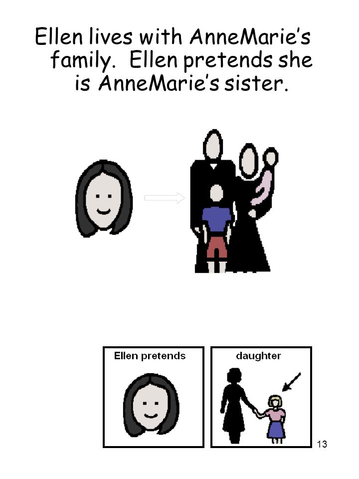 13 Ellen lives with AnneMarie's family. Ellen pretends she is AnneMarie's sister.