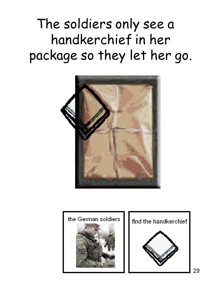 29 The soldiers only see a handkerchief in her package so they let her go.