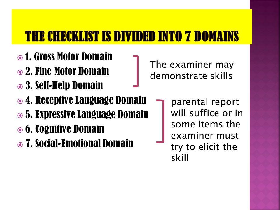  1. Gross Motor Domain  2. Fine Motor Domain  3. Self-Help Domain  4. Receptive Language Domain  5. Expressive Language Domain  6. Cognitive Dom