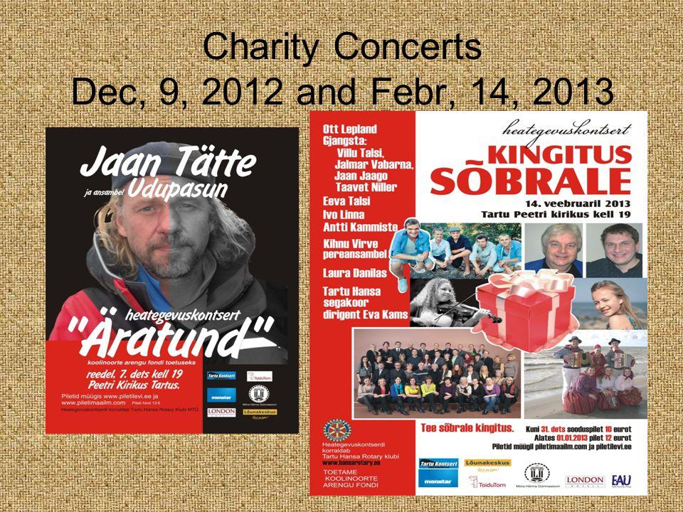 Charity Concerts Dec, 9, 2012 and Febr, 14, 2013