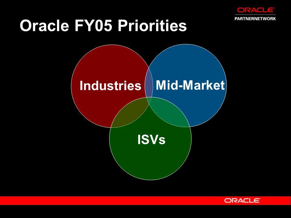 Oracle FY05 Priorities ISVs Industries Mid-Market