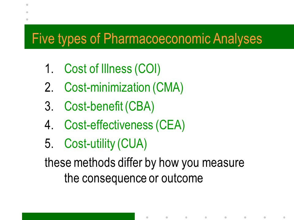 Five types of Pharmacoeconomic Analyses 1.Cost of Illness (COI) 2.Cost-minimization (CMA) 3.Cost-benefit (CBA) 4.Cost-effectiveness (CEA) 5.Cost-utili
