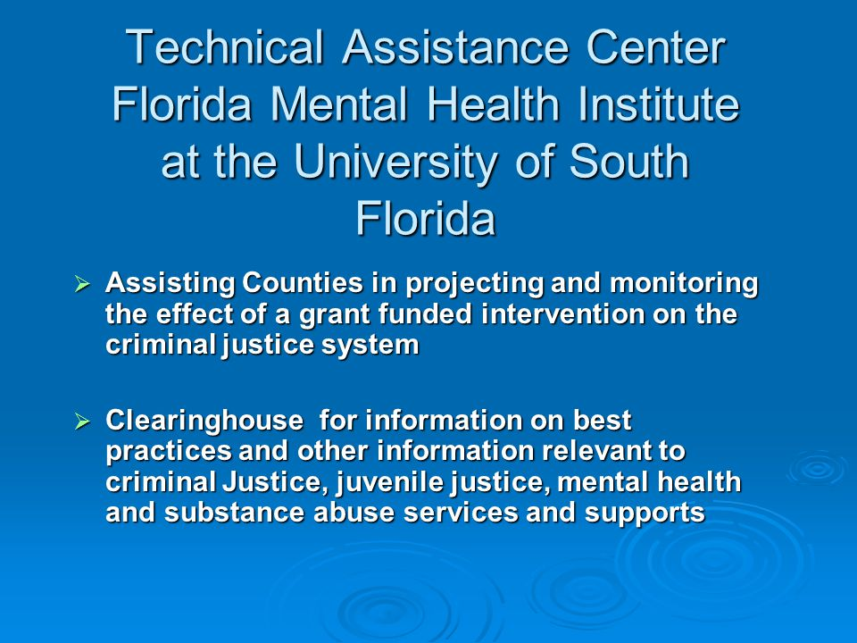 Technical Assistance Center Florida Mental Health Institute at the University of South Florida  Assisting Counties in projecting and monitoring the e