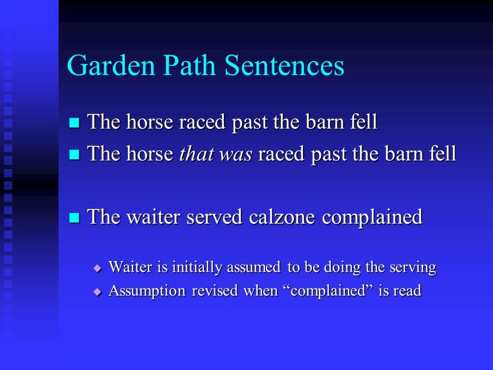 Garden Path Sentences The horse raced past the barn fell The horse raced past the barn fell The horse that was raced past the barn fell The horse that