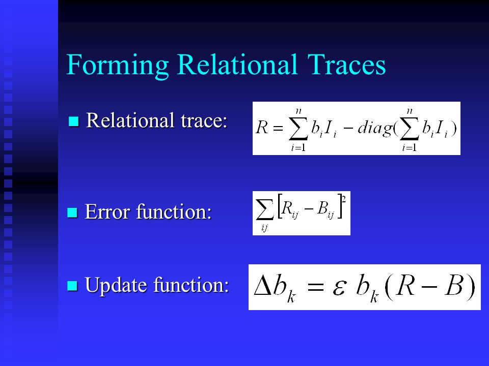 Forming Relational Traces Relational trace: Relational trace: Update function: Update function: Error function: Error function: