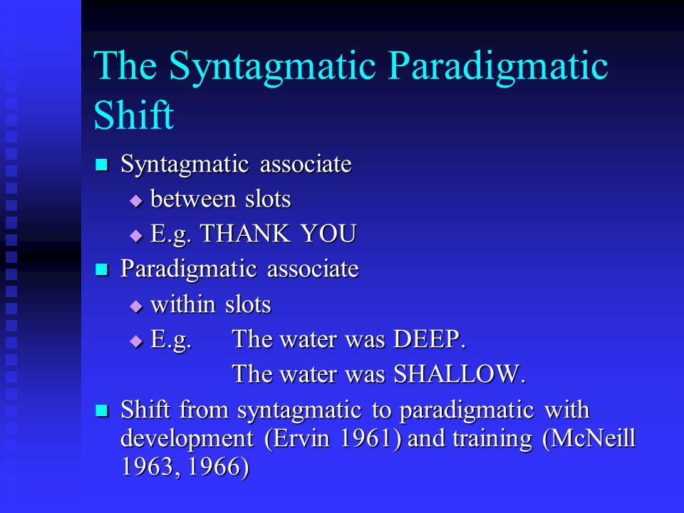 The Syntagmatic Paradigmatic Shift Syntagmatic associate Syntagmatic associate  between slots  E.g. THANK YOU Paradigmatic associate Paradigmatic as
