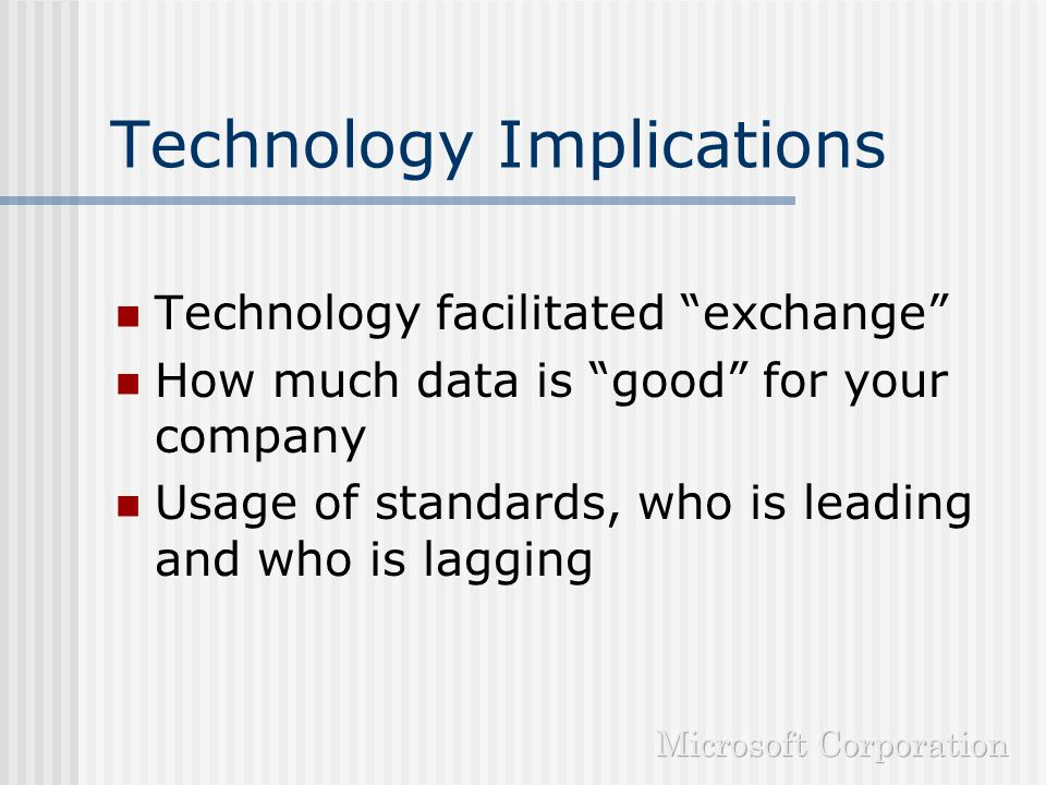 Technology Implications Loosely coupled integration Seamless desktop to back office communication Use of data analysis for cost optimization