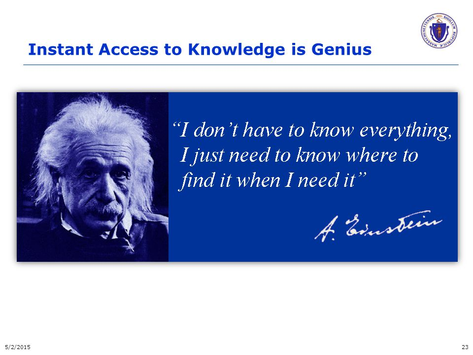 Instant Access to Knowledge is Genius 5/2/201523