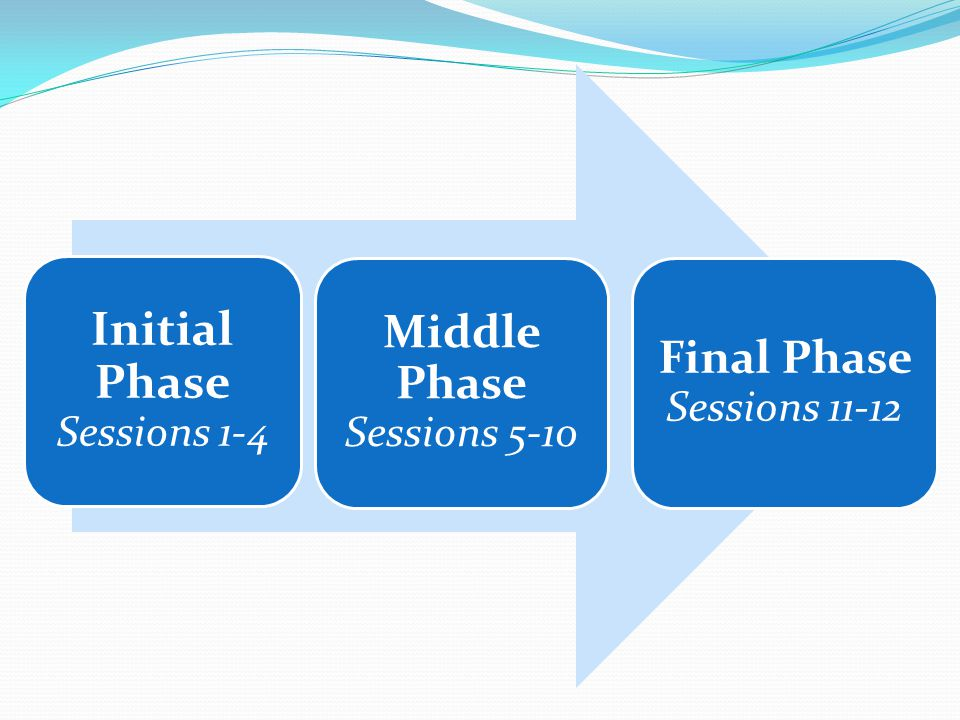 Initial Phase Sessions 1-4 Middle Phase Sessions 5-10 Final Phase Sessions 11-12