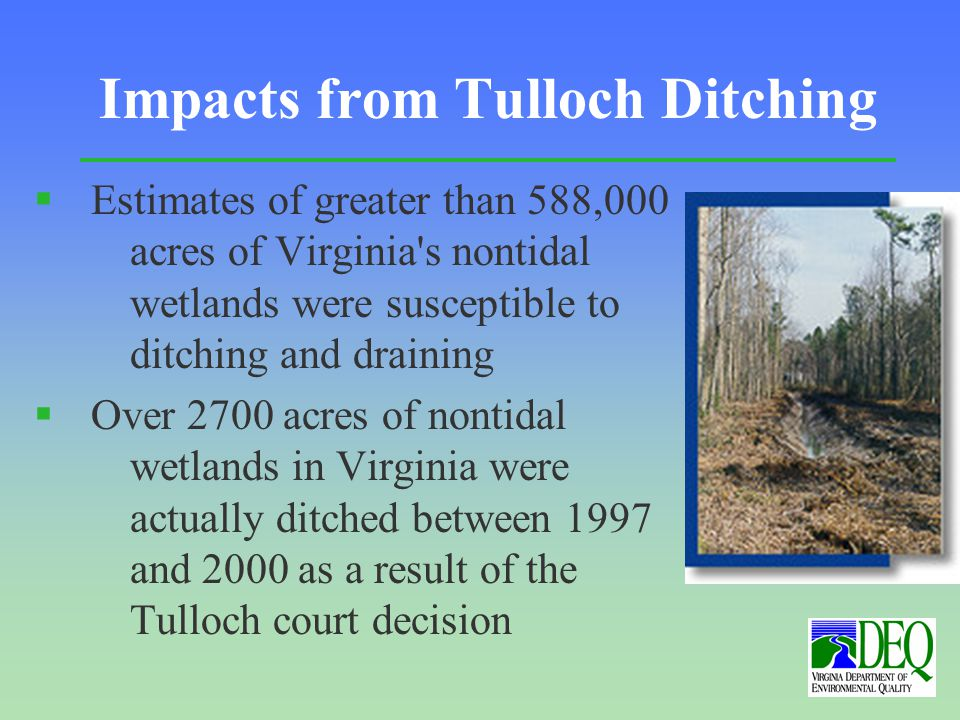 Impacts from Tulloch Ditching § Estimates of greater than 588,000 acres of Virginia s nontidal wetlands were susceptible to ditching and draining § Over 2700 acres of nontidal wetlands in Virginia were actually ditched between 1997 and 2000 as a result of the Tulloch court decision