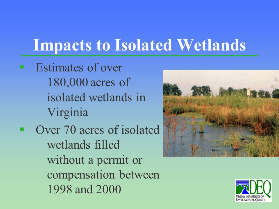 Impacts to Isolated Wetlands § Estimates of over 180,000 acres of isolated wetlands in Virginia § Over 70 acres of isolated wetlands filled without a permit or compensation between 1998 and 2000