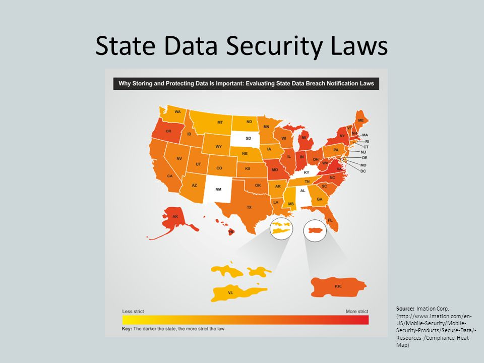 State Data Security Laws Source: Imation Corp. (http://www.imation.com/en- US/Mobile-Security/Mobile- Security-Products/Secure-Data/- Resources-/Compl