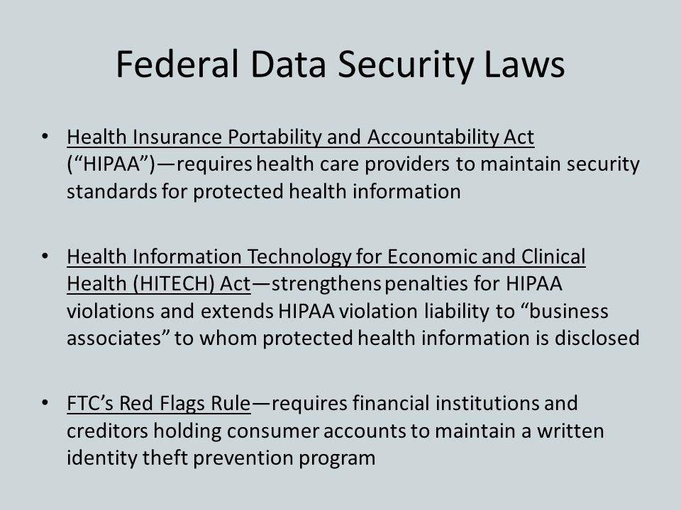"Federal Data Security Laws Health Insurance Portability and Accountability Act (""HIPAA"")—requires health care providers to maintain security standards"