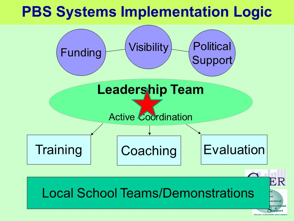 Leadership Team Active Coordination Funding Visibility Political Support Training Coaching Evaluation Local School Teams/Demonstrations PBS Systems Implementation Logic